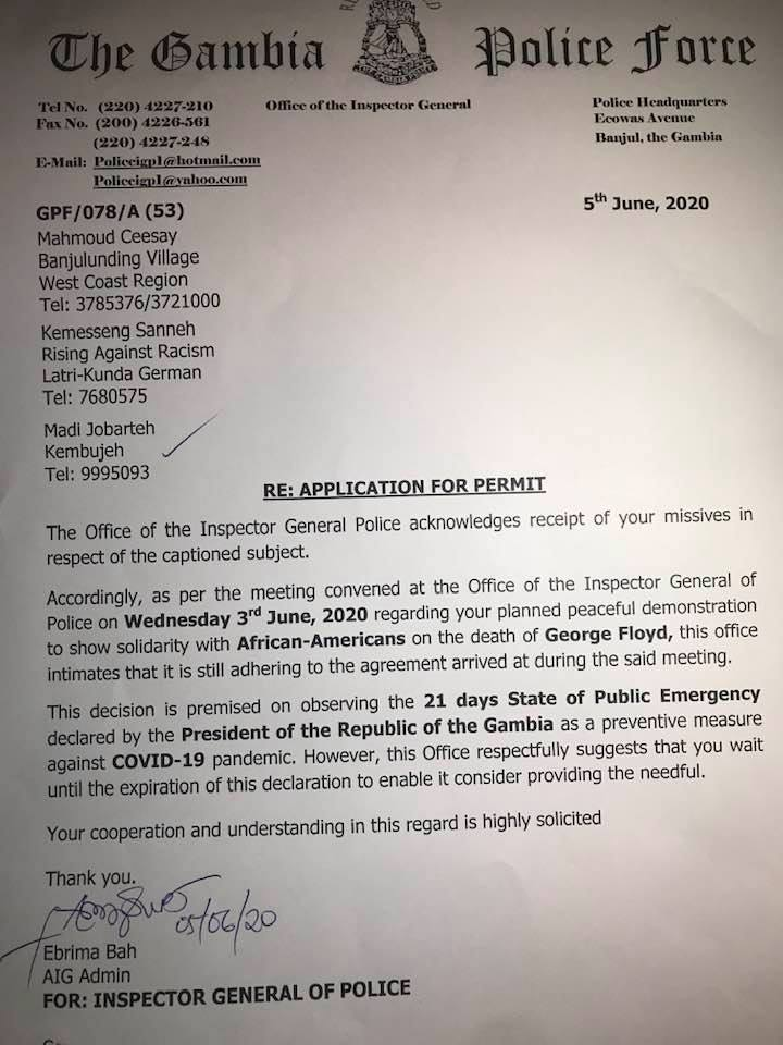 Madi Jobarteh shares letter police wrote to them amid claims Gambian activists are fake